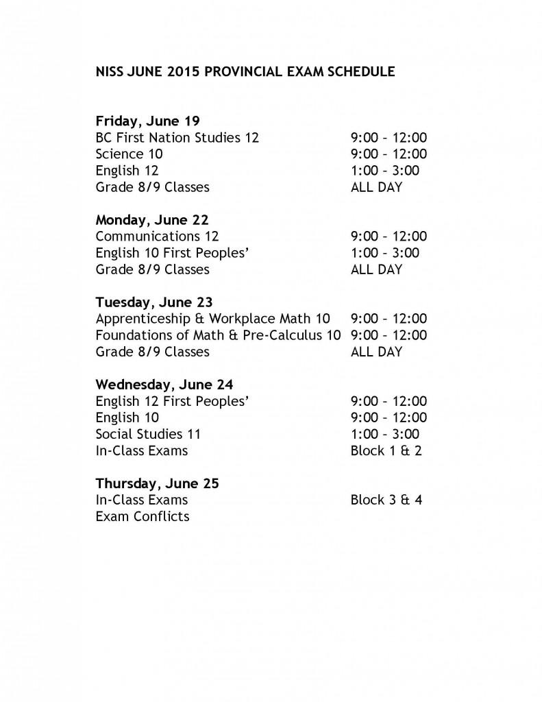 NISS June 2015 Prov Exam Schedule